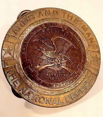 Vintage National Rifle Association Of America Solid Brass Belt Buckle Rare