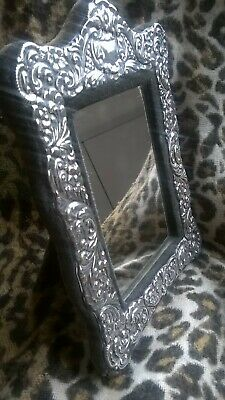 Vintage Sterling Silver,Repousse work,Easel Mirror/Photo Frame by Carr's 1985