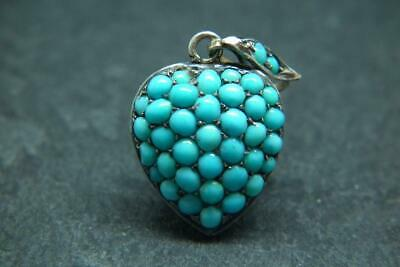 Finest Antique Victorian Silver & Turquoise Puffy Heart Locket Pendant Charm