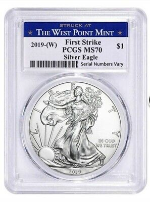 2019-(W) $1 PCGS MS70 First Strike Silver American Eagle Struck at West Po ! OBO