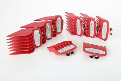 Wahl Premium Guard Attachment Combs Metal Magnetic 8 Piece Full Set RED