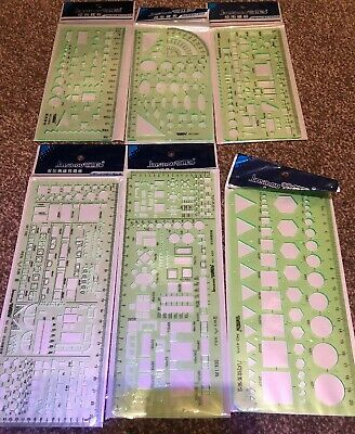 Set Of 6 Plastic Geometric Stencils Measuring Templates For Office And School