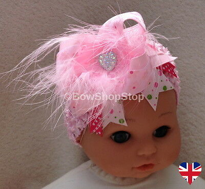 Headband Baby Pink Fluffy Feather Easter Ribbon Hair Bow Crystal Heart Girl