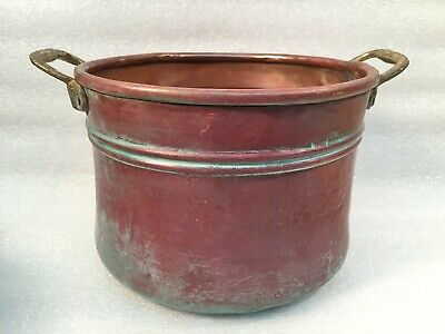 Antique Small Hand Forged Hammered Copper Pot W/Brass Riveted Handles Primitive