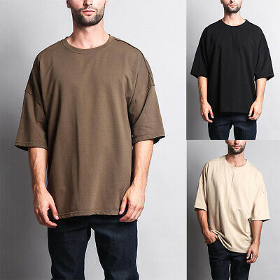 Victorious Men's Hipster Extra Wide Oversize Baggy Boxy T-Shirt     TS7051-GG1D