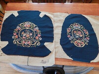 Vintage Navy Needlepoint 2 Piece Set Of Chair Covers With Petit Point Centers