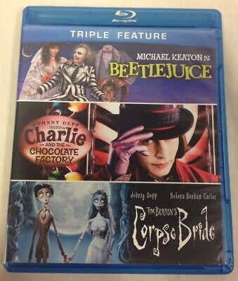 Beetlejuice Charlie & The Chocolate Factory & Corpse Bride Triple Feature BluRay