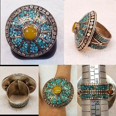 Medieval Beautiful Turquoise And Amber Old Silver Wonderful Huge Ring  # 31R