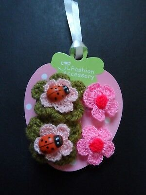 Girls/Baby Hair Clips /Hair Slides,Mini/Small Hair Clips Ladybird+Free Bracelet