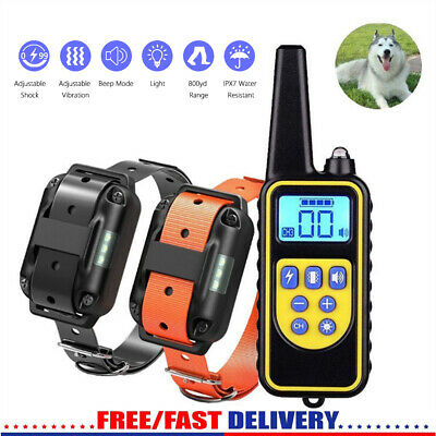 IP67 Pet Dog Training Collar Rechargeable LCD Electric Shock Anti-bark R 800m