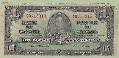 1937 Bank of Canada One Dollar Note - Osborne/Towers - A/A9715313 - Worn