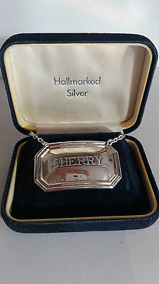 """Vintage Sterling Silver DECANTER Label for """"SHERRY"""" Boxed, 1998 Birmingham"""