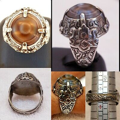 Ancient Old Silver Ring With Wonderful Yemani Agate Stone Evil Eyes Protection