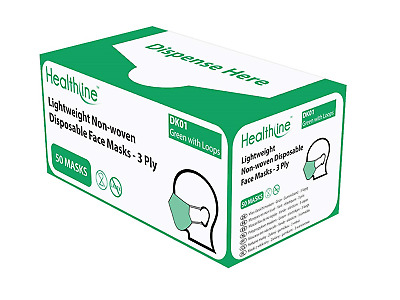 HPC Healthline Shield Surgical Face Mask Ear Loop - 3 boxes of 50
