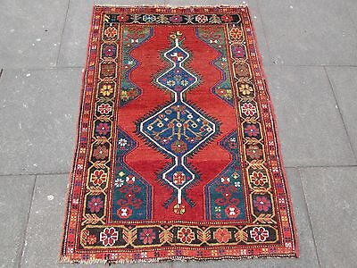 Antique Traditional Hand Made Caucasian Rug Red Green Wool Oriental Rug 142x99cm