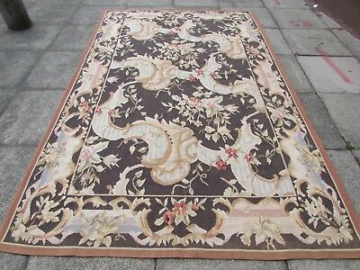 Old Hand Made French Design  Wool Black Brown Large Original Aubusson 295X185cm
