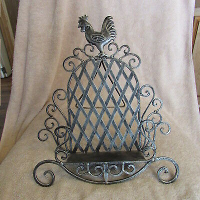 ROOSTER Wrought Cast Iron Cookbook Book Music Adjustable Stand Holder ROOSTER