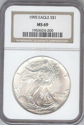 1995 American Silver Eagle S$1 + MS 69 + NGC