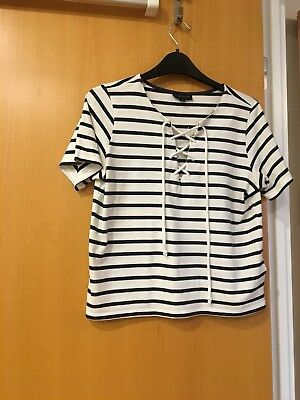 Top Shop Ladies / Girls Navy And White Striped Top Size 8 Tie At The Front