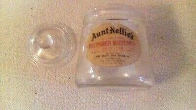 Antique Aunt Nellie's mustard jar glass lid paper label