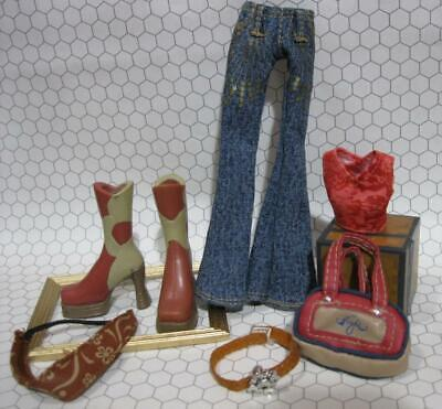 """Bratz 10"""" girl Doll Cloth/Boots Outfit-angelz style flaunt it Top Jean headband"""
