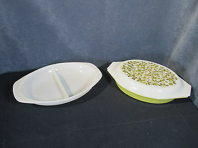 Pyrex Princess Verde Divided Baking Dishes Lid Olive Leave Yellow Green Set of 3