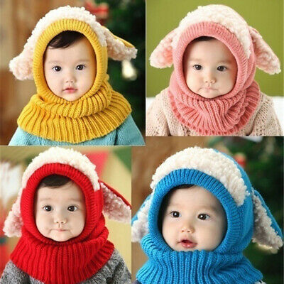 Winter Baby Kids Boy Girl Knitted Rabbit Crochet Ear Beanie Warm Hat Cap Soft