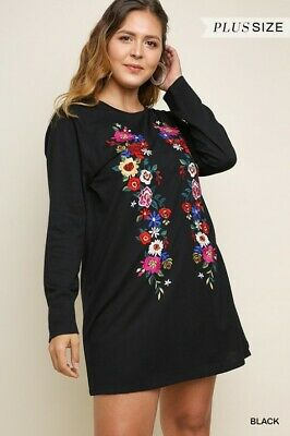 UMGEE Floral Embroidered Long Sleeve Knit Dress Plus Size XL USA Boutique
