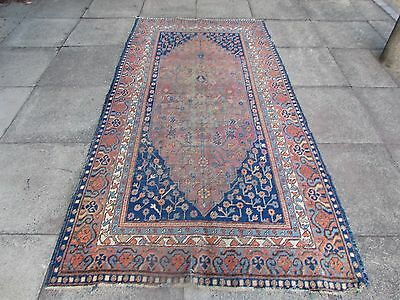 Antique Traditional Hand Made Khotan Oriental Faded Pink Carpet Rug 259x137cm