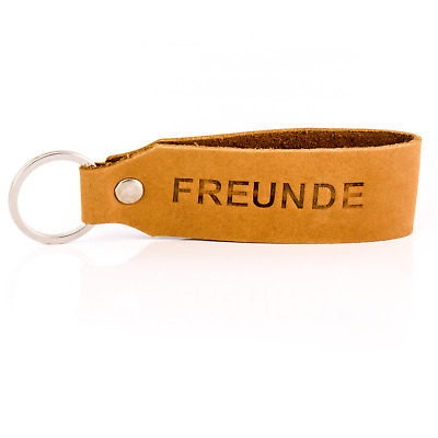 """"""" Samui """" Keychain Engraving Friends Tumatsch-Leder Real Leather in Brown"""