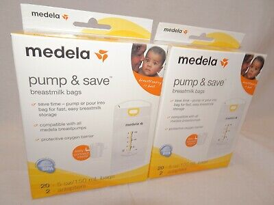 Medela Pump & Save Breastmilk Storage Bags 40 ct with 4 Easy Connect Adapters