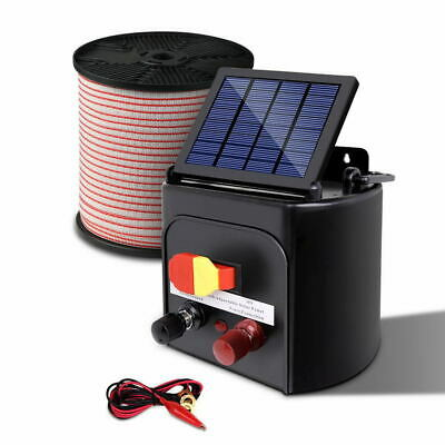 Giantz 8km Solar Electric Fence Energiser with Bonus Charger 400M Poly Tape