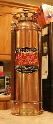 "VERY RARE Antique Vintage ""GOLD MEDAL"" Copper Brass Fire Extinguisher Polished"