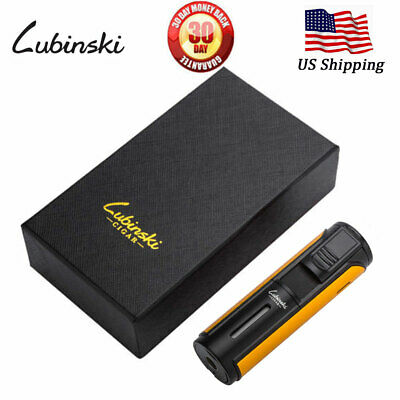 LUBINSKI Cigar Lighter Windproof Butane Gas 5 Torch Jet Metal Cigarette Lighter