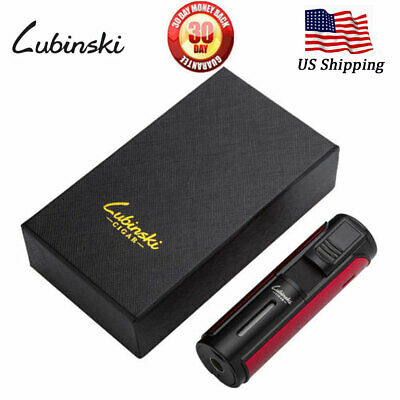 LUBINSKI Cigar Lighter Windproof Butane 5 Torch Jet Metal Cigarette Lighter Red