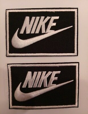 "(2) Nike  Logo/ Emblem Embroidered Iron On Patches PATCH LOT 3.3"" x 2.1"""