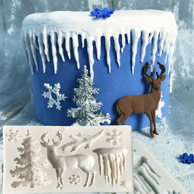Christmas Tree Elk Snowflake Fondant Cake Mold DIY Sugarcraft Decor Baking Tool^