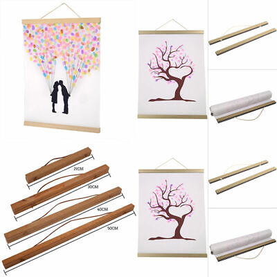DIY Magnetic Wooden Photos Picture Frame Wall Poster Scroll Print Artwork Hanger