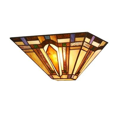 Tiffany Style Arrow Wall Sconce Lamp 1-Light  Mission Stained Glass Wall Light