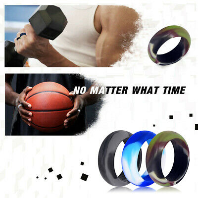 Medical Grade Silicone Wedding Ring Men Women Camouflage Rubber Band Size 6-12#