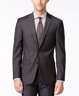 $645 Dkny Mens Extra Slim Fit Wool Suit Gray Sold 2 Button Jacket Blazer 36 R