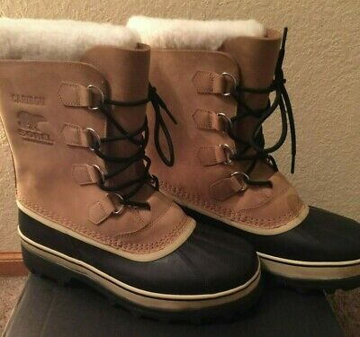 NIB SOREL Men's Caribou Sherpa Lined Leather Boot ~ Buff Color ~ Size 10 ~ $160
