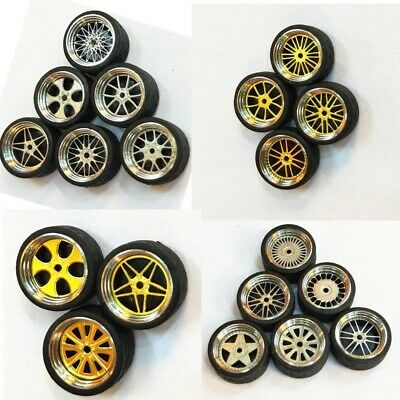 1/64 Scale Alloy Wheels - Custom Hot Wheels, Matchbox,Tomy, Rubber Tires P5B4