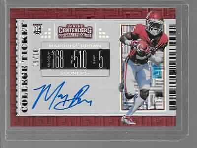 """2019 Contenders Draft Picks MARQUIS """"Hollywood"""" BROWN Auto 9/10 RC RAVENS"""