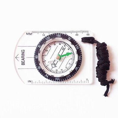 Portable Military Baseplate Map Mini Compass Ruler Scale Orienteering  Survival