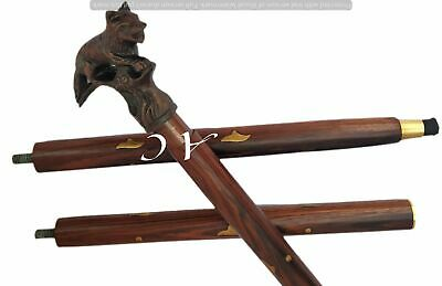 Walking Stick Wooden Cane Dragon Handle Solid Wood Vintage Carved Antique Style
