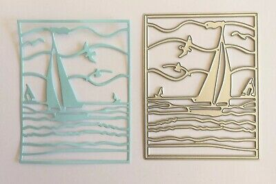Metal Cutting Die Suitable for Sizzix Cuttlebug machines - Framed Boat on Water
