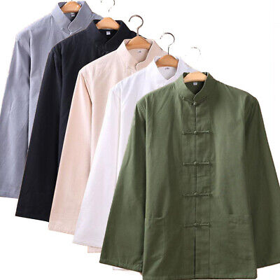 Mens Long Sleeve Chinese Cotton Linen Tops Casual Blouse Kung Fu Shirt New Style