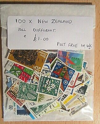 100.x. NEW ZEALAND STAMPS, ALL DIFFERENT, OFF PAPER, FREE U.K. POSTAGE