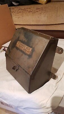 Incredibly Rare!! Antique Ships or Military Steel Stowage Box inset Brass Plate